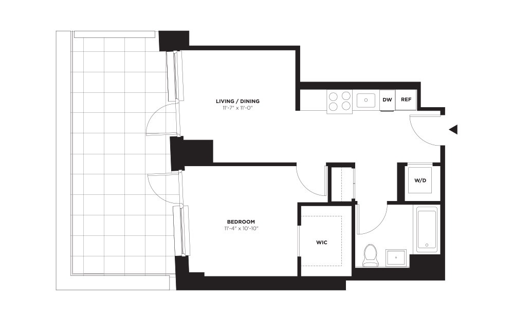 Unit B / Floor 10 - 21 - 1 bedroom floorplan layout with 1 bath and 579 square feet. (With Terrace)