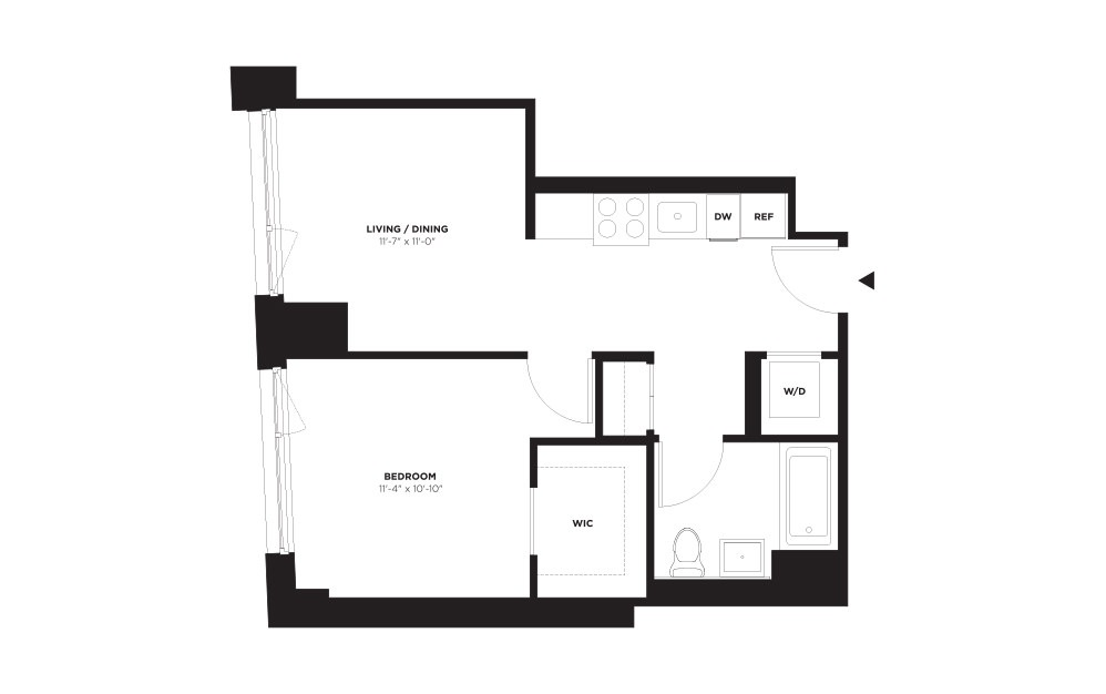 Unit B / Floor 10 - 21 - 1 bedroom floorplan layout with 1 bath and 579 square feet. (Without Terrace)