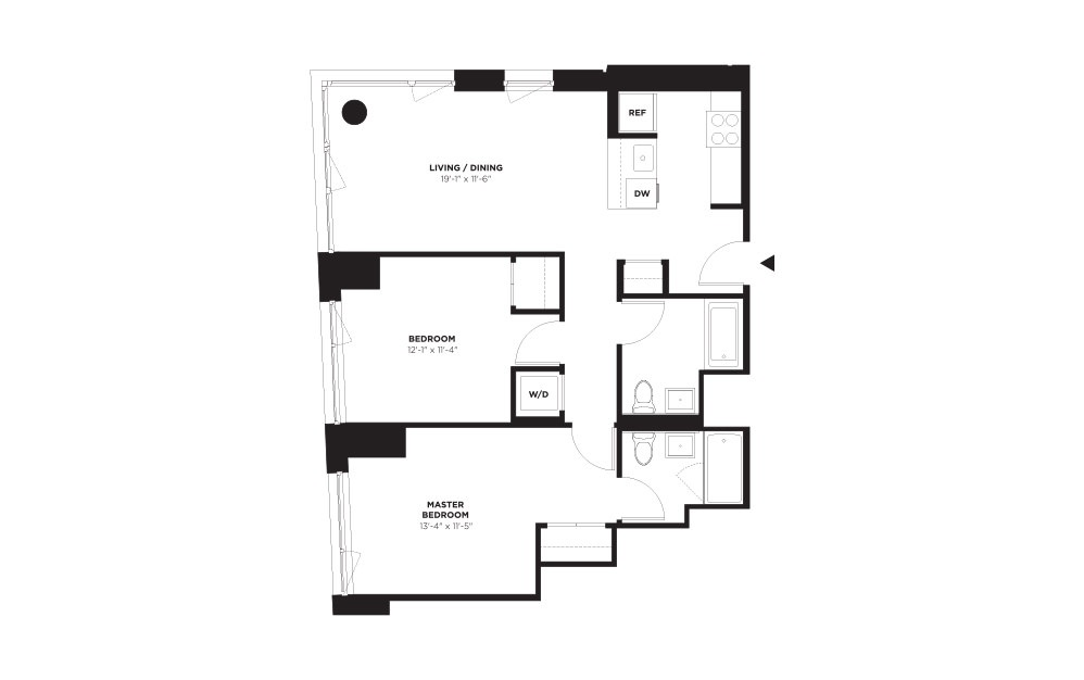 Unit D / Floor 10 - 21 - 2 bedroom floorplan layout with 2 baths and 985 square feet.