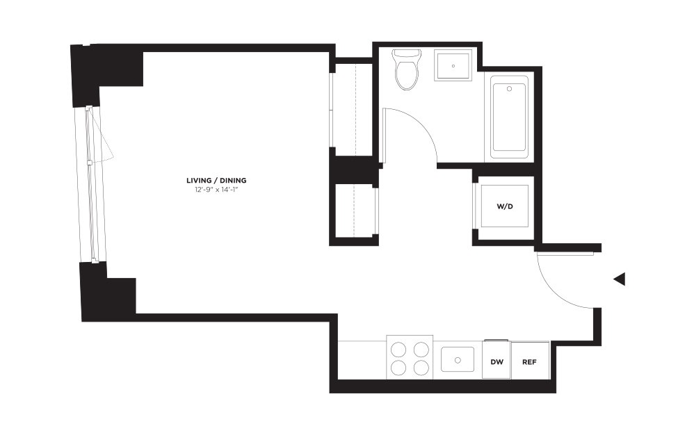 Unit C / Floor 10 - 21 - Studio floorplan layout with 1 bath and 429 square feet. (Without Terrace)